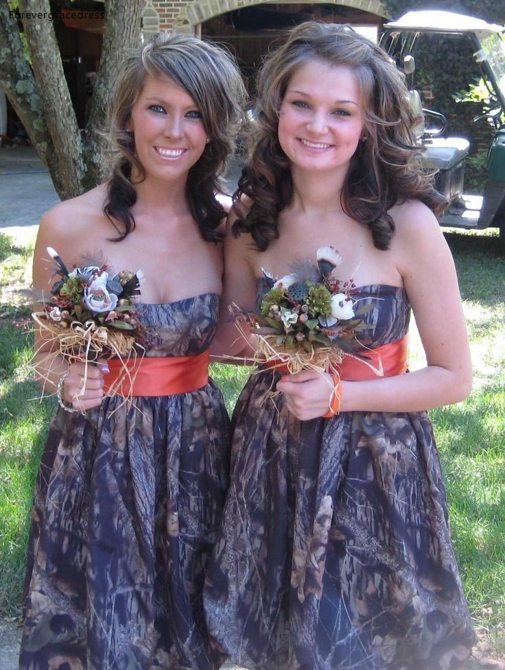 New Camo Bridesmaid Dress A Line For Western Summer Country Garden Formal Wedding Party Guest Maid Of Honor Gown Plus Size