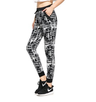 Rylanguage Ladies Jogger Pant Pleated Drawstring Sweatpant Abstract Trousers Women Casual pant With pocket American Order
