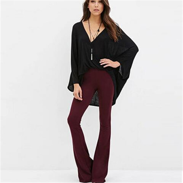 0660186bcc756 2017 New Fashion American Apparel Wine Red Elegant High Waist Women s  Tousers Sexy Autumn Spring Wide