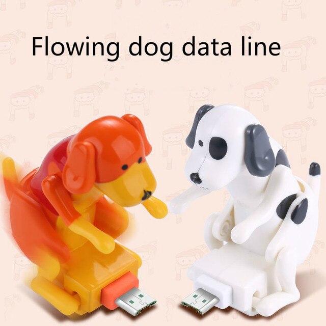 Línea de datos de perro que fluye Linda línea de carga de cachorro deportivo para Apple Android tipo C Cable de regalo