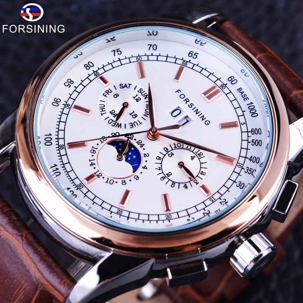 Forsining Rose Golden Elegant Moon Phase Design Calendar Display Brown Leather Mens Watch Top Brand Luxury Automatic Watch Clock forsining date month display rose golden case mens watches top brand luxury automatic watch clock men casual fashion clock watch