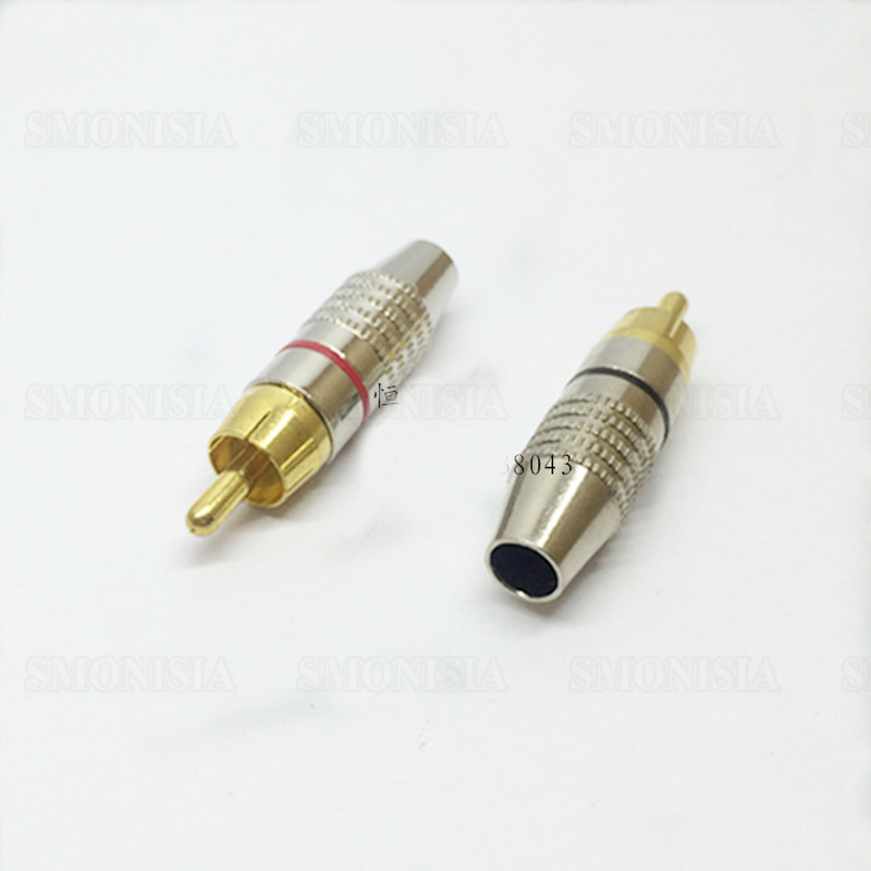 500 Pcs Gold Plated RCA Plug Audio Video Locking Cable Connector Red + Black High Quality areyourshop copper carbon fiber rca plug jack gold plated audio adapter connector red 1 4pcs high quality rca connector