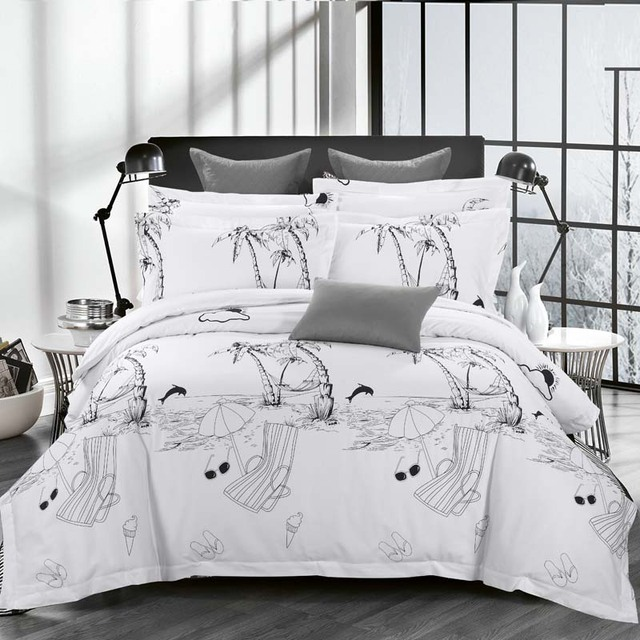 Luxury White Hotel Duvet Cover Set Quality King Queen Size Bed Linen/Cover 100% Cotton Bedding Sets with Feathers Bed as gift