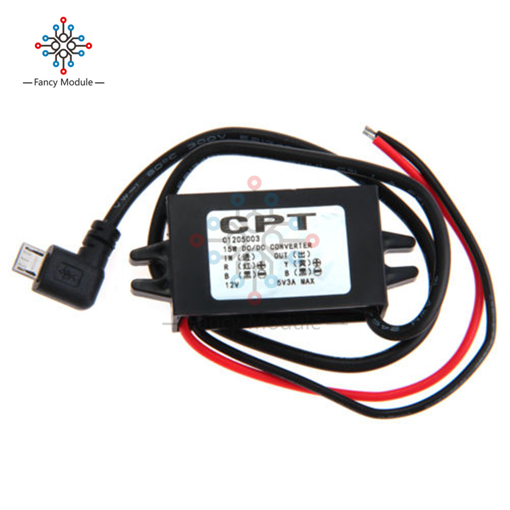 DC-DC Converter 12V to 5V 3A Step Down Power Supply Module Micro USB Waterproof
