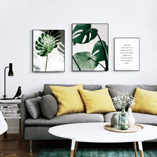 Watercolor Green Plants Leaves Quotes Canvas Paintings Nordic Scandinavian Wall Decor Picture for Living Room No Frame