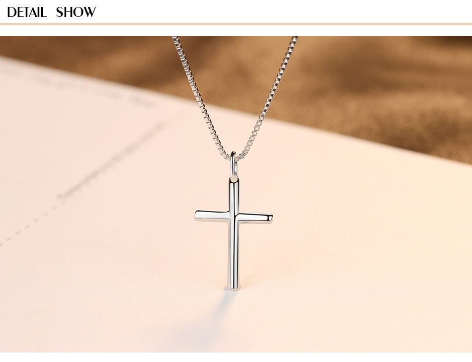 S925 sterling silver necklace pendant personality cross pendant ladies necklace accessories KS03