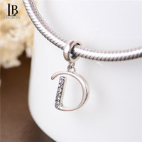 925 Sterling Silver Alphabet D Beads A-Z Letter Initial Spacer Dangle Clear Synthetic Crystal Charm For Snake Chain Bracelets