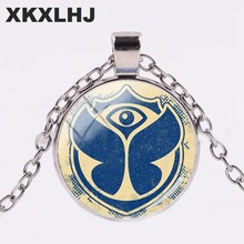 HOT! Arrival High Quality Electronic Music Festival Tomorrowland Necklace Glass Cabochon Photo Medallion Necklaces Jewelry(China)
