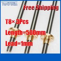 3X T8 500mm Lead Screw 500 Length 1mm Lead 3D Printer Lead Screw CNC Parts Free Shipping