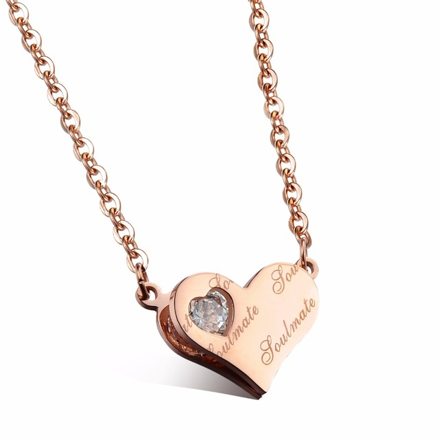 Never Tarnish Cute Heart Pendant Necklace Jewelry Women Rose Gold