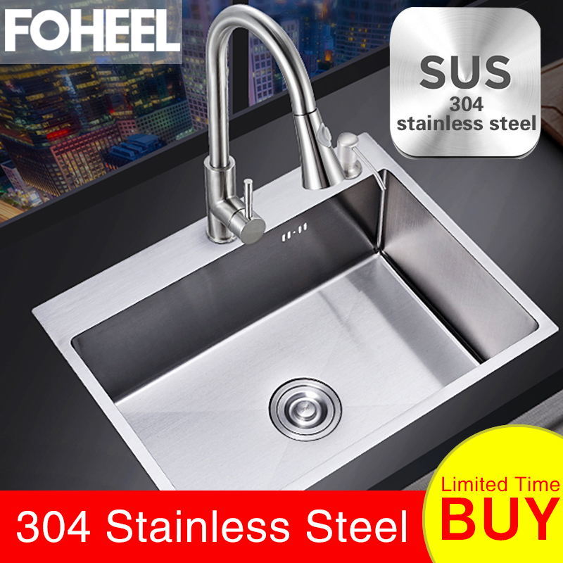 FOHEEL Single Kitchen Sink SUS304 Stainless Steel Kitchen Sink Single Slot Dish Basin 50 45cm with