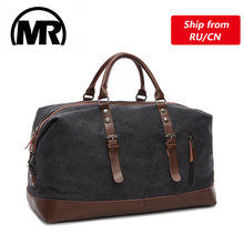 MARKROYAL Canvas Leather Men Travel Bags Carry on Luggage Bag Men Duffel Bags Handbag Travel Tote