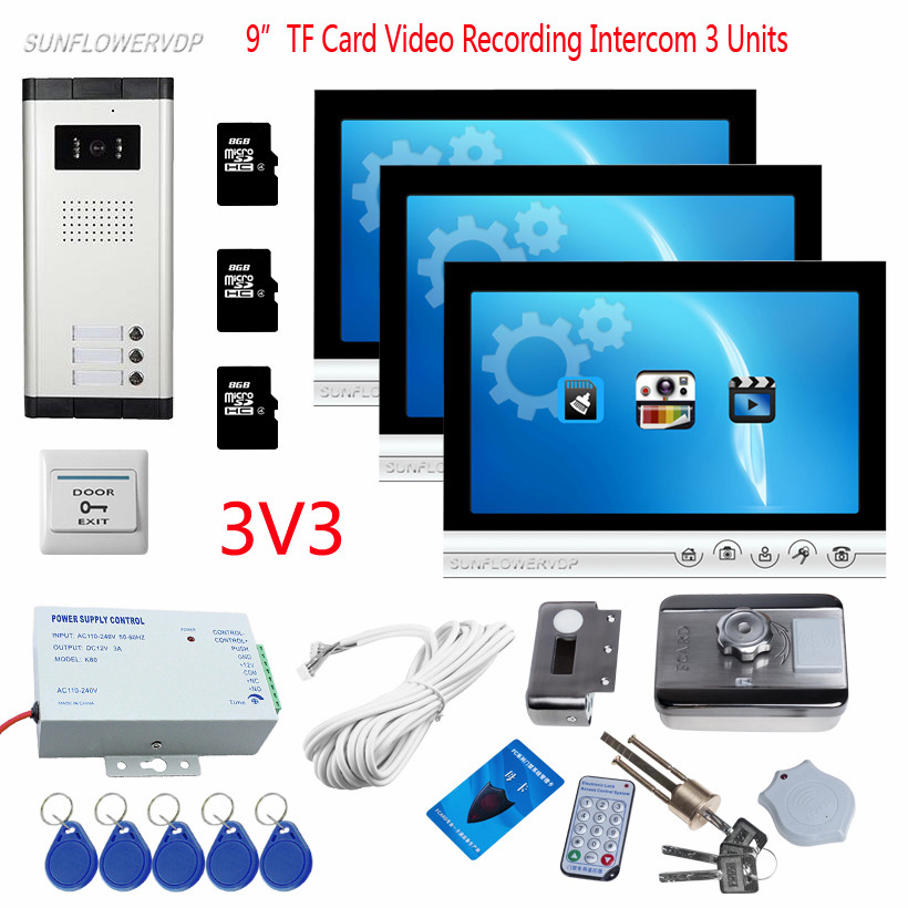 9 Color Recording Monitor 8GB TF Card Video Eyes For The Door 3 Apartments Camera Doorbell With Rfid Door Lock Intercom Wired video phone intercom with door rfid electric lock intercom camera video doorbell for 6 apartments 7inch color tft lcd monitor