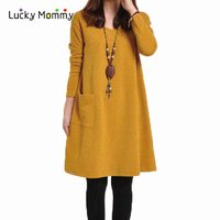 Long Sleeved Big Pocket Maternity Dresses Autumn Winter Dress For Pregnant Women Plus Size Casual Maternity