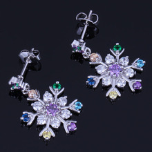 Awesome Snowflake Multigem Multicolor Brown Cubic Zirconia 925 Sterling Silver Drop Dangle Earrings For Women V1025