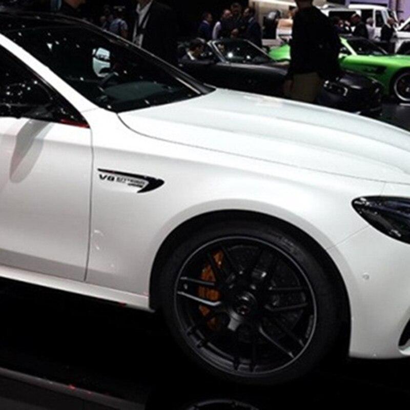 Décoration latérale d'autocollant de Logo de lame d'emblème de garniture d'aile d'évent pour Benz AMG V8 C200 C300 E300 E400 W213 noir brillant de Fiber de carbone - 6