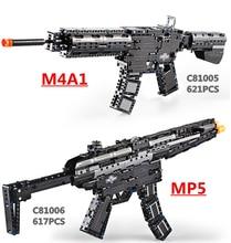 브랜드 장난감 총 M4A1 Airsoft 공기 총과 MP5 장난감 기관단총 621pcs 빌딩 블록 벽돌 아이들 야외 게임 모델 CS 코스프레