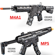Brands Toy Gun M4A1 Airsoft Air Guns And MP5 Toy Submachine Gun 621pcs Building Block Brick Kids Outdoor Game Model CS Cosplay