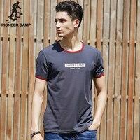 Pioneer Camp Dark Grey Summer Letters Printed Camiseta Men O Neck T Shirt Fitness Gym Clothing