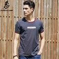 Pioneer Camp Cinza Escuro Verão Letras Impressas Homens Camiseta O Pescoço camisa T Homens Tshirt Roupas de Fitness Respirável Macio 620041