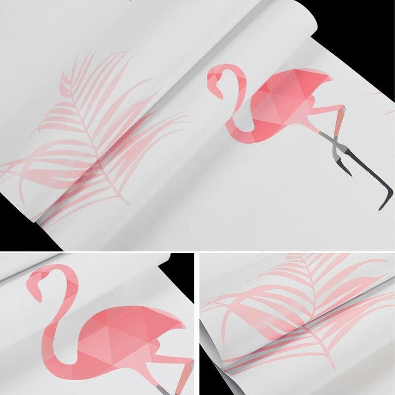 Купить с кэшбэком Nordic Pink Flamingo Wall Paper Home Decor Ins Wallpapers for Bedroom Living Room Walls Paper Housemapa del mundo para pared