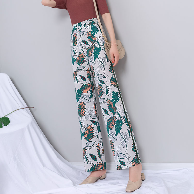 Chiffon Print   Wide     Leg     Pants   Women Summer Boho Floral Print High Waist   Wide   Trousers Women Gothic Plus Size Elastic Waist   Pants