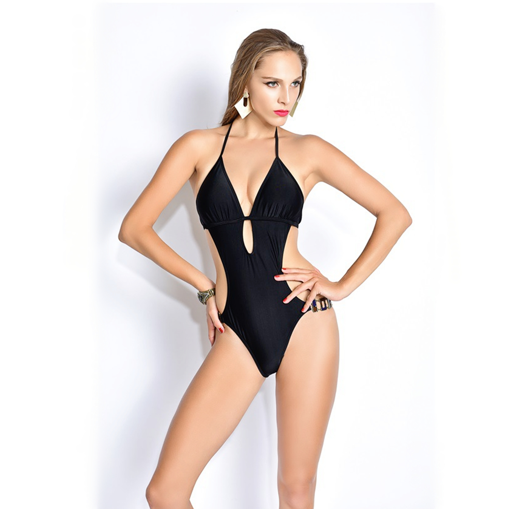 New Brand Sexy Deep V Neck One Piece Swimsuit Women Swimwear Bathing Suit Bandage Bodysuit Backless Halter Top Monokini Swimsuit women one piece triangle swimsuit cover up sexy v neck strappy swimwear dot dress pleated skirt large size bathing suit 2017