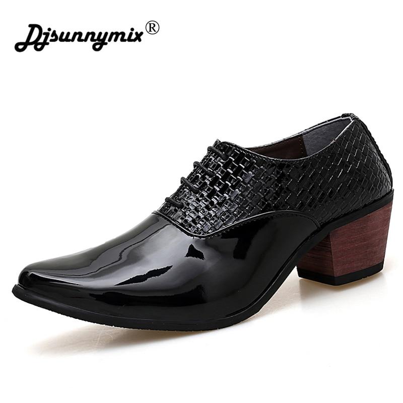 все цены на DJSUNNYMIX Brands Pointed Toe Men Shoes High Heels Dress Shoes white Party Shoes Men в интернете