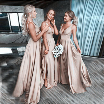 Sexy Autumn Women Dresses Deep V Neck Side Split Satin Backless Floor Length Boho Beach Bridesmaid Gowns Prom Party Dresses