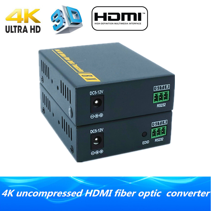 4K HDMI fiber optic extender 2km via fiber 3D HDMI1.4v fiber optical audio converter with RS232 TX/RX video transmitter receiver