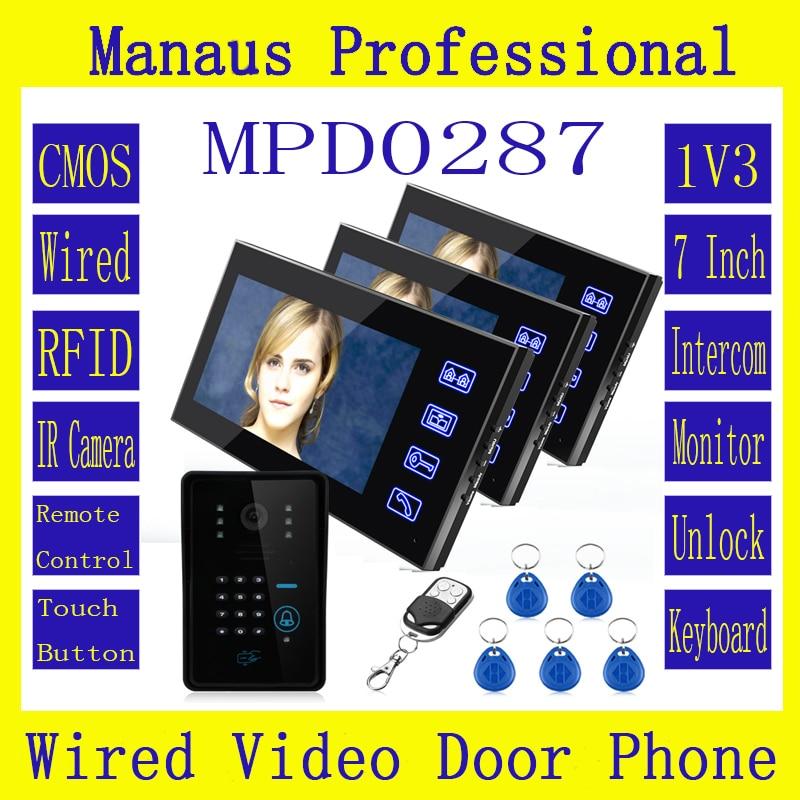 125KHz RFID Password Video Door Phone Intercom System 3PCS Remote Access Control 7 Inch Monitors & 1 PCS 1000TVL IR Camera D287b