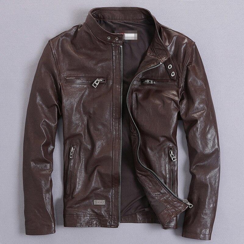 YOLANFAIRY Genuine Leather Jacket Men Real GoatSkin Leather Bomber Jackets Spring Autumn Plus Size Motocycle Outwear 2020 MF039