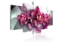 5 Pieces Modern Pink Orchid Flowers Poster Prints Living Room Wall Art Canvas Painting Home Decoration Painting Framed PJMT-24