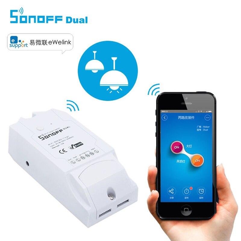 Nueva sonoff casa inteligente dual wifi interruptor de control remoto inalámbric