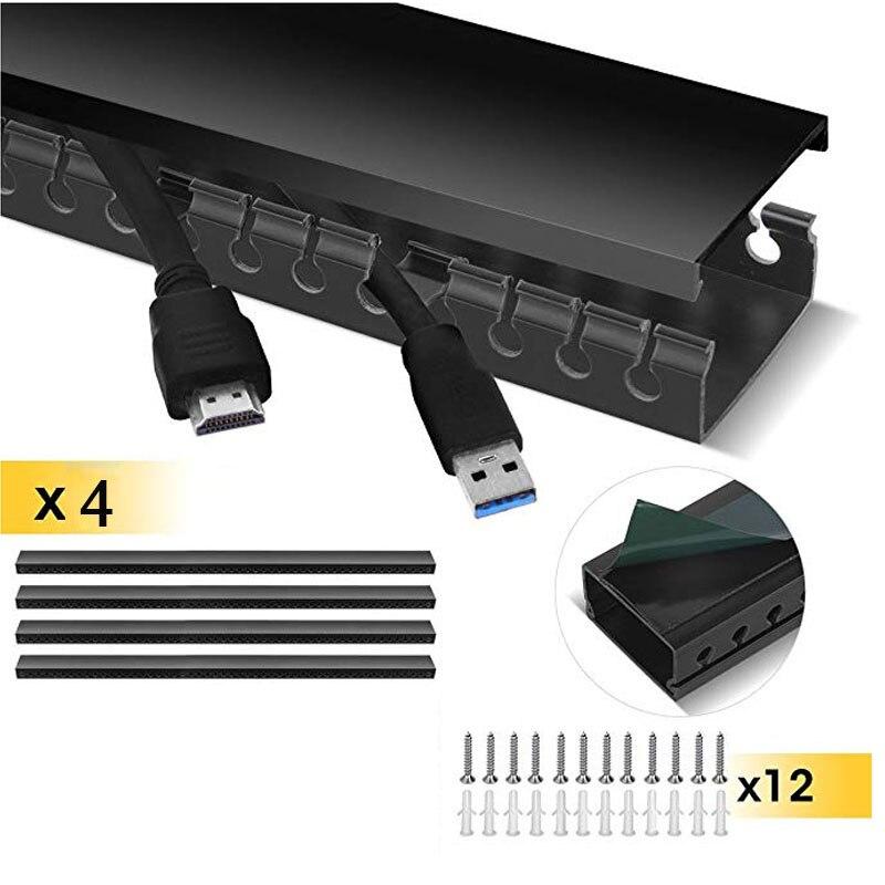 Kit de chemin de câbles Kit de système de gestion de câble conduit de chemin de câbles à fente ouverte avec couvercle sur le mur organisateur de cordon correcteur de câble - 2