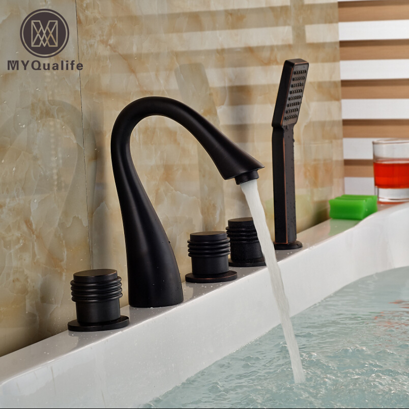 Oil Rubbed Bronze Bath Tub Faucet Bathtub Mixer 5pcs Widespread Tub Filler Faucet Bath Shower Mixers Tap