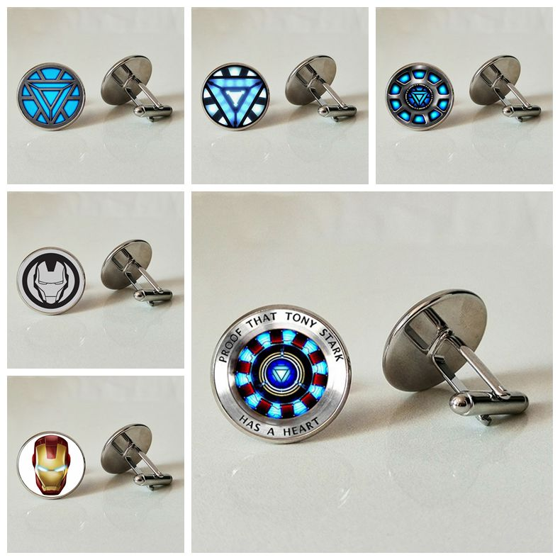 Hot Explosive Iron Man Tony Stark Silver Tibet Glass Dome COLLAR  Cufflinks Wholesale