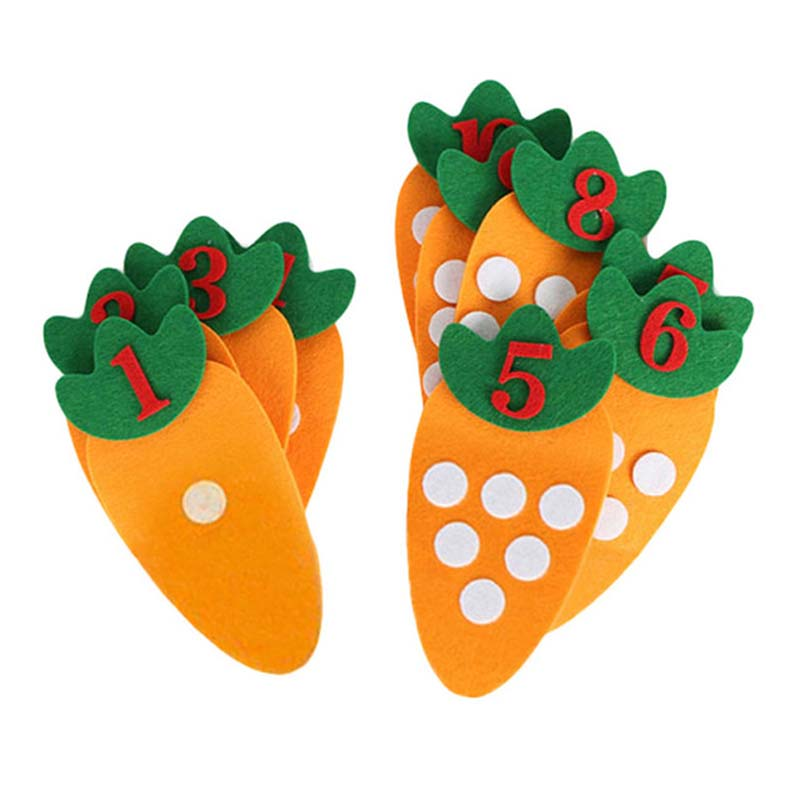 1-10 Montessori Educational Toy Non-woven Children Puzzle Handmade DIY Math Toys Kindergarten Carrot Match Digital Teaching Aids