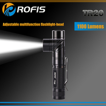 1 Set ROFIS TR20 1100LM CREE XP-L HI V3 LED 90 Degree Head Rotation Rechargeable Light Led Flashlight by 18650 Battery