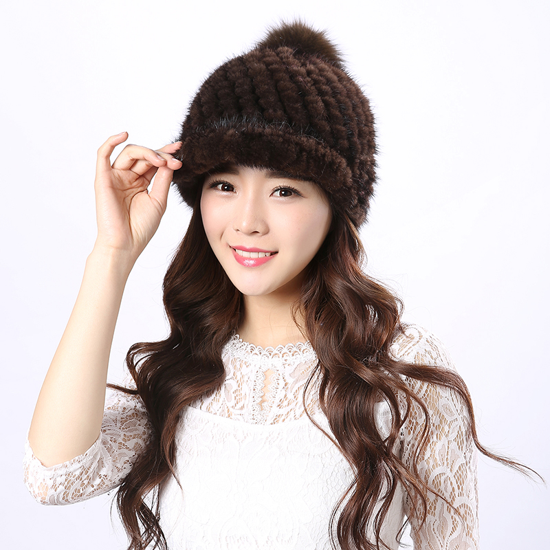 Real mink fur knit winter hat women hat new arrivals Lady high quality brand women water mink good fur hat warm pom best gift foreign trade explosion models in europe and america in winter knit hat fashion warm mink mink hat lady ear cap dhy 36