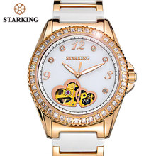 STARKING Full Crystal Rose Gold Ceramic Watch Women Fashion Band Ladies Wristwatch Luxury Automatic Women Watch Mechanical Movt