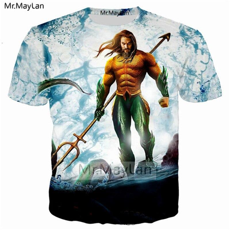 2018 Movie Aquaman T-Shirts Cosplay Superhero Arthur Curry Cool 3D Mens T-Shirts