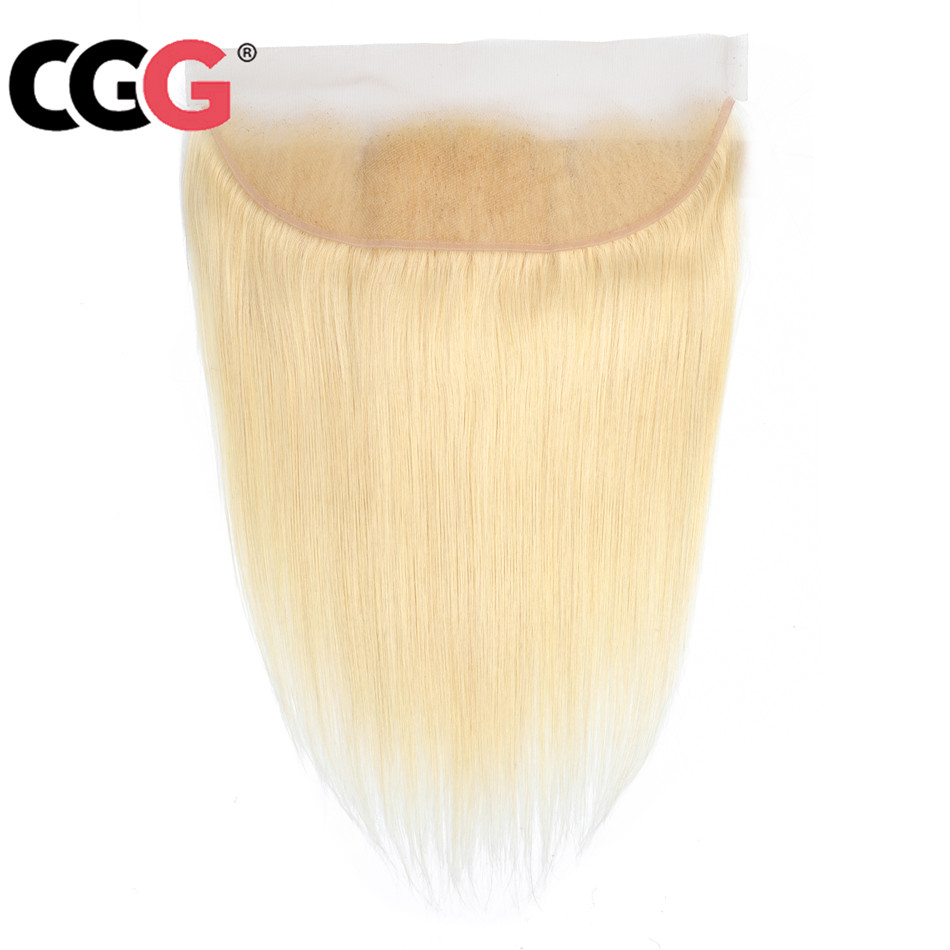 CGG Hair Closure Blonde Non-Remy-Hair Indian Frontal 13x4 Straight Pre-Plucked 100%Human-Hair