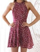 2019 Summer Women fashion Dress Sexy Party A-Line Dresses Mini Sweet Print Dress Sleeveless Backless Slim Fit Hanging neck Dress