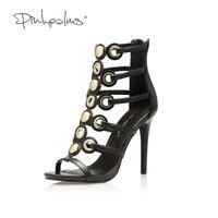 Розовые ладони женская обувь Обувь на высоком каблуке черный цвет металлическое кольцо украшения узкая полоса пикантные на тонком каблуке ...