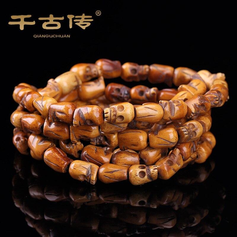 8*11mm Classic Skull Head Handmade Yak Bone Bead Buddhist Meditation 108 Bead Prayer Mala Bracelet/Necklace