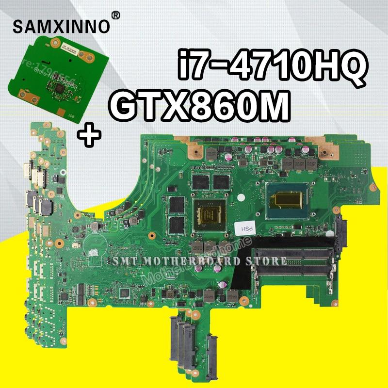 Envoyer conseil + Pour ASUS G751J G751JT G751JY G751JL Ordinateur Portable Carte Mère Carte Mère GTX860M 2 GB i7-4710HQ REV: 2.2 DDR3LMHz SDRAM
