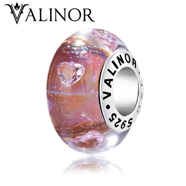 Heart zircon dark red flash murano glass beads charms 925 Sterling Silver fit  Bracelets for Women Jewelry Trendy JKLL005