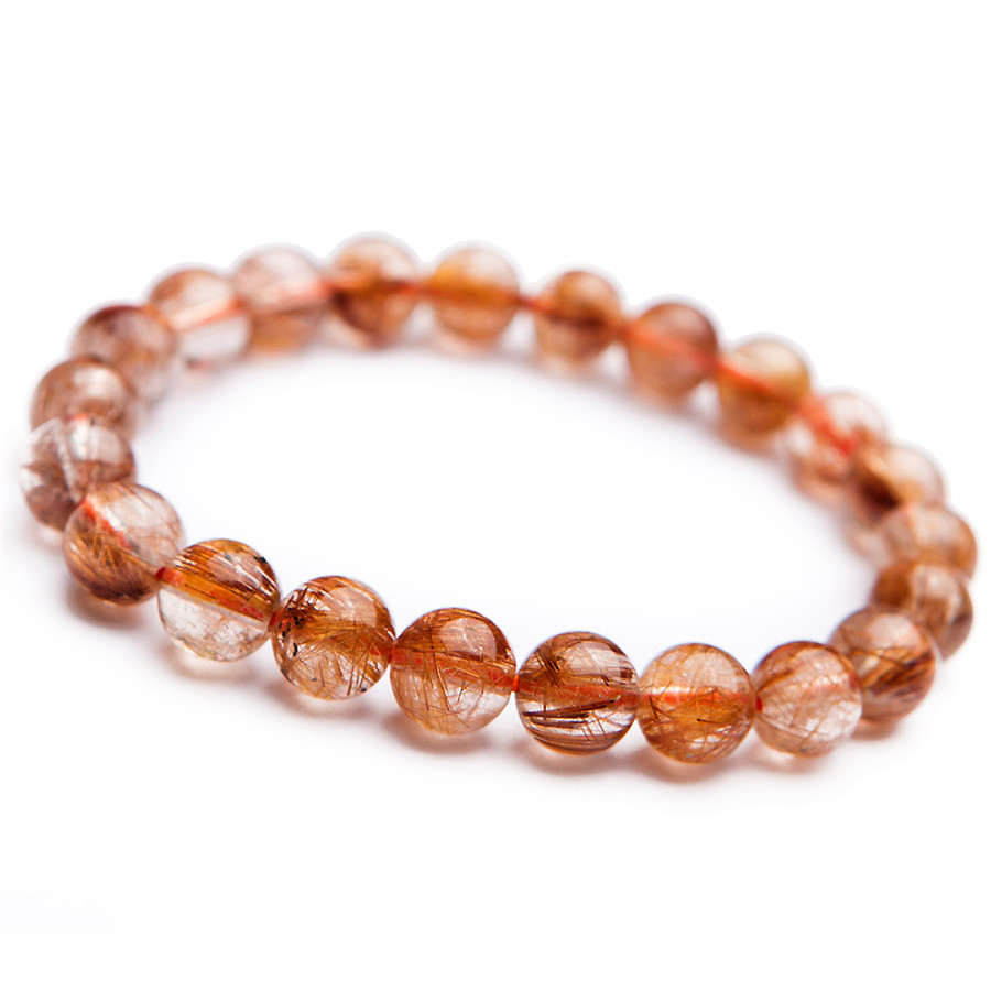 Genuine Natural Copper Hair Rutilated Quartz Crystal Women Stretch Charm Round Stone Bead Bracelet 8mm genuine natural copper hair rutilated quartz crystal women stretch charm round stone bead bracelet 8mm