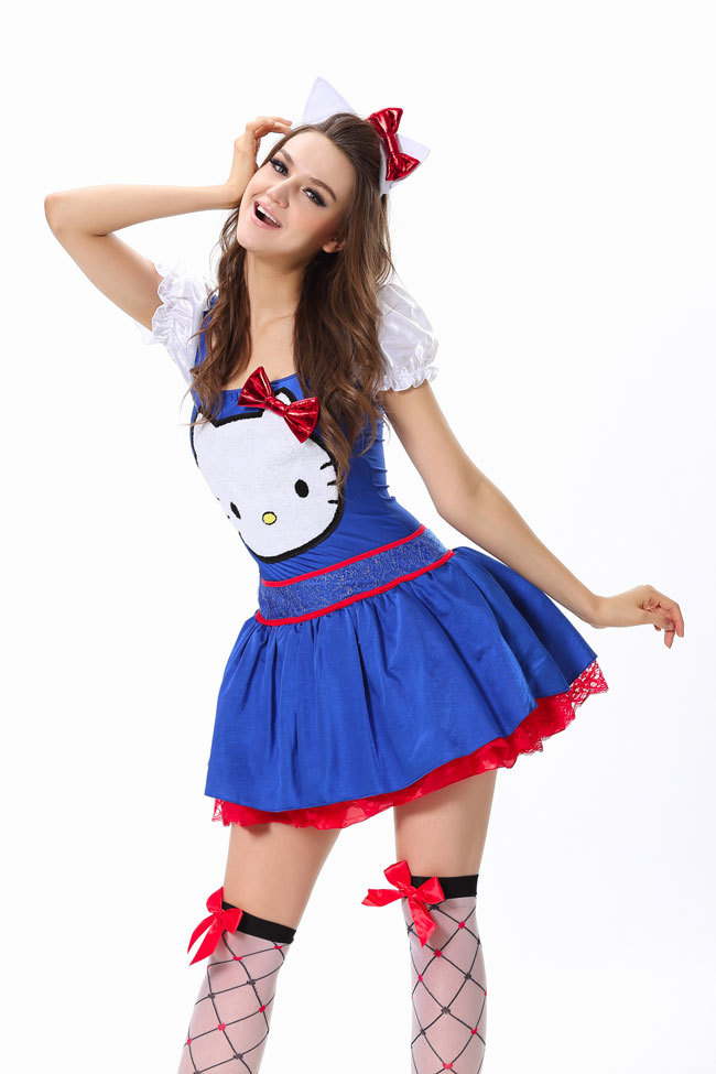 ml5380 new arrival fashion 2015 adult red blue fancy dress sexy women cosplay maid costume halloween - Halloween Hello Kitty Costume